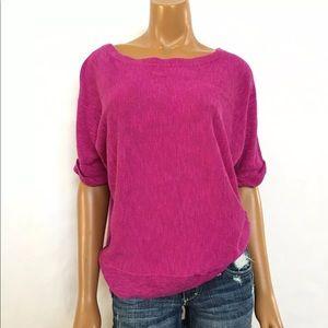 Eileen fisher purple knit blouse size XS